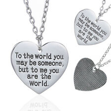Valentines Day Birthday Gift for Girlfriend You are The World Heart Necklace NEW