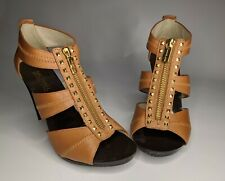 Michael kors Heels 6.5 strappy Gold Studs/ Brown leather 4.5 inch heel