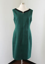 T Tahari Green Black Zip Front Sheath Dress Size 8 Career Chic Sleeveless