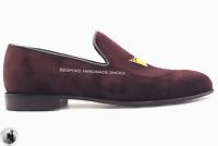 Véritable velours rouge vin pantoufles mocassins pour hommes à la main chaussure
