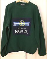 Vintage 90's Nautica Green Blue Patch Fleece Jacket Pullover Sweater Size Medium