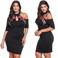 Women Plus Size Rose Applique Cold Shoulder Evening Cocktail Party Bodycon Dress