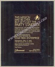 RARE Star Trek: Enterprise 4th Season FINAL CAST & CREW PARTY Framed INVITATION!