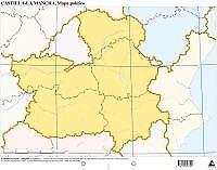 Paq/50 mapas castilla-mancha politico mudos. ENVÍO URGENTE (ESPAÑA)