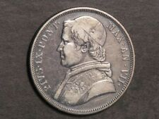 VATICAN-PAPAL STATES 1853R (Year VIII) 1 Scudo 26.8 grams Silver Crown  VF