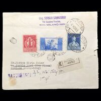 1949 Italy 150th Anniversary Of The Voltaic Pile Registered Stamp Postal Cover