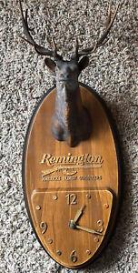 Vintage Remington Firearms ELK Clock Advertising Plaque- Hard Plastic-RARE