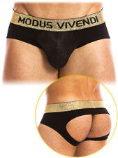 Designer Festive Bottomless Knickers Men Jockstrap Sports Gogo Dance Black/Gold