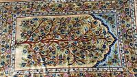 Silk Rug from Kashmir Tree of Life Gold Blue Design 4' x 6'