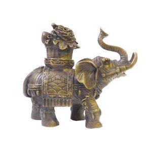 Chinese Brown Bronze Metal Trunk Up Elephant Figure cs1413