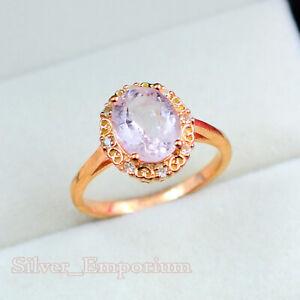 10X8 MM Oval Cut Natural Morganite Gemstone 14K Rose Gold Wedding Ring For Women