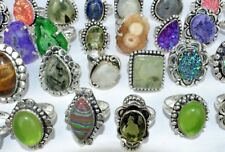 Druzy,Topaz,Onyx Gemstone Wholesale Lot 925 Sterling Silver Overlay Rings 50pcs