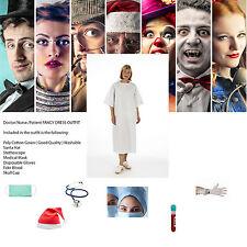 1x Zombie Paciente Fancy Dress Kit Con Sangre Gorra De Malla Guantes Y Mascarilla