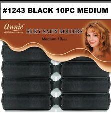 """ANNIE SILKY SATIN ROLLER MEDIUM 10 PIECES #1243 BLACK  7/8"""" DIAMETER"""