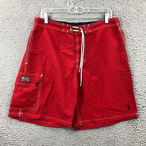 Polo Ralph Lauren Swim Trunk Medium M Size Mid Rise Nylon Drawstring Shorts Red