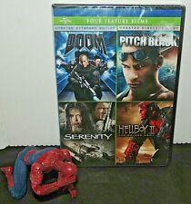 New! Doom / Pitch Black / Serenity / Hellboy Ii 2 Four Feature Dvd Set Films