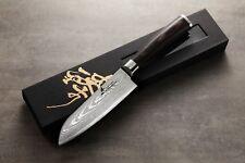 ZHEN Japanese Damascus Santoku Knife Cutlery VG-10 Steel 67 Layers 5-in vs SHUN