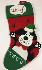 "NWOT Doggie CHRISTMAS STOCKING 18"" Woof Plush 3D Holiday Pet"