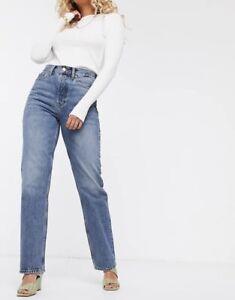 Topshop Womens Wide Cut Denim Jeans UK 10 28x34
