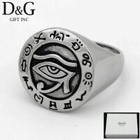 DG Men's Silver Stainless Steel Black Egyptian Eye Ring 8.9,10,11,12,13 Box