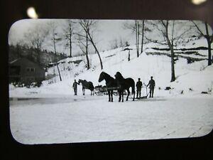 Glass Magic Lantern Slide 1904 Cutting Ice on Lake Minausin Charles Pancoast