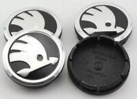 4x 56mm Skodas Center Caps Wheel Centre Hub Alloy Cap Set Black / Silver