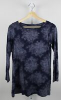J. JILL Pure Jill Super Soft Tunic Top Boat Neck Long Sleeve Tee Blue PETITE XS
