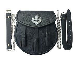 Scottish Kilt Medieval Sporran / Pouch, Real Black Cowhide Leather + Belt