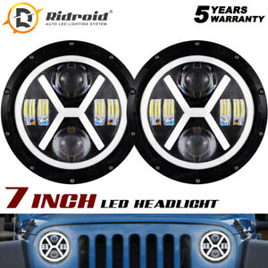 "NEW 7"" Round LED Headlight Halo Angel Eyes For Freightliner FLD112 Century Class"