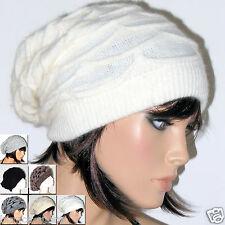 Cappello Donna Uomo Lungo LANA ANGORA bianco BELLISSIMO TANTI COLORI bruco D0182