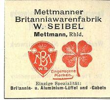Mettmanner Britanniawarenfabrik W. Seibel Mettmann Trademark 1912