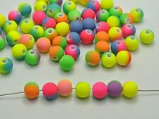 """200 Multi-Color Neon Beads Acrylic Round Beads 8mm(0.32"""") Rubber Tone"""