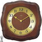 AMS Radio Reloj De Pared Madera Maciza Color Nogal MINERAL CRISTAL NUEVO