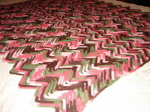 Handmade Handcrafted Crochet Afghan Throw with Multi Colors