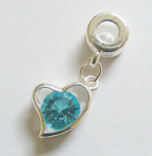 1 Silver Plated Heart Dangle Charm For European/Charm Bracelet - Aqua Rhinestone