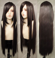 Women Fashion Long Brown Straight Hair Cosplay Party Heat Resistant Full Wig80CM
