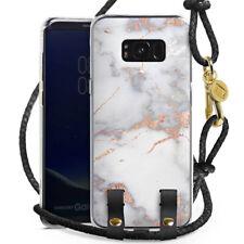 Samsung Galaxy S8 Plus Hülle zum Umhängen Handykette White and golden marble
