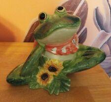 Wonderful Ceramic Sitting, Thinking, Frog With Bandanna & Sunflowers. Vgc