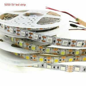 DC5V  Interface LED Adhesive Tape SMD 5050 Strip Light Lamp 50CM 1M 2M 3M 4M 5M
