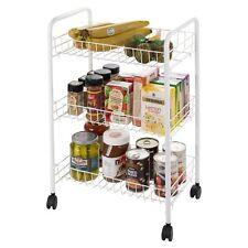 3 4 Tier Plastic Wheels Metal Frame Storage Trolley Basket Portable Kitchen NEW