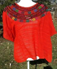 Huipil Mexican Blouse Top Sheer Embroidered Beach Chiapas One Size S M L XL A28