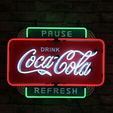 "Neon Light Sign 20""x16"" Coca Cola Pause Drink Refresh Real Glass Artwork Beer"