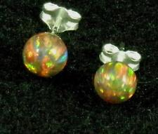 USA Made Mexican Fire Opal 6mm Sphere Ball .925 Sterling Silver Earrings Post