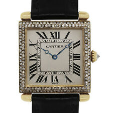 Cartier Tank Obus 1630 Diamond 18k Yellow Gold Leather Watch