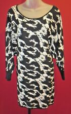 BETSEY JOHNSON Black White Leopard Print Batwing Sleeves Cutout Back Dress Sz S