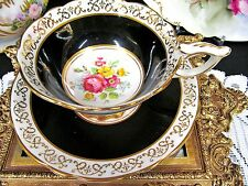 Royal Stafford tea cup and saucer black and floral roses pattern teacup gold