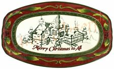 "Fitz and Floyd St Nick Merry Christmas to All Holiday Ceramic 10.5"" x 6"" Plate"