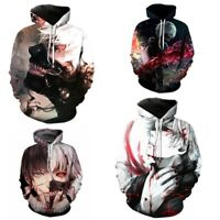 Hot Tokyo Ghoul Ken Kaneki 3D Print Men Pullover Hoodie Sweatshirt Coat Jacket