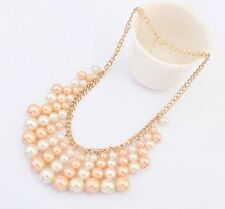Peach and White Pearl Beaded Gold Plated Necklace
