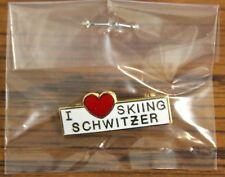 I LOVE (HEART) SKIING SCHWITZER Mtn. Ski Lapel Pin Badge Souvenir Travel IDAHO